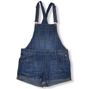 Express Jeans Cuffed Denim Overall Shorts